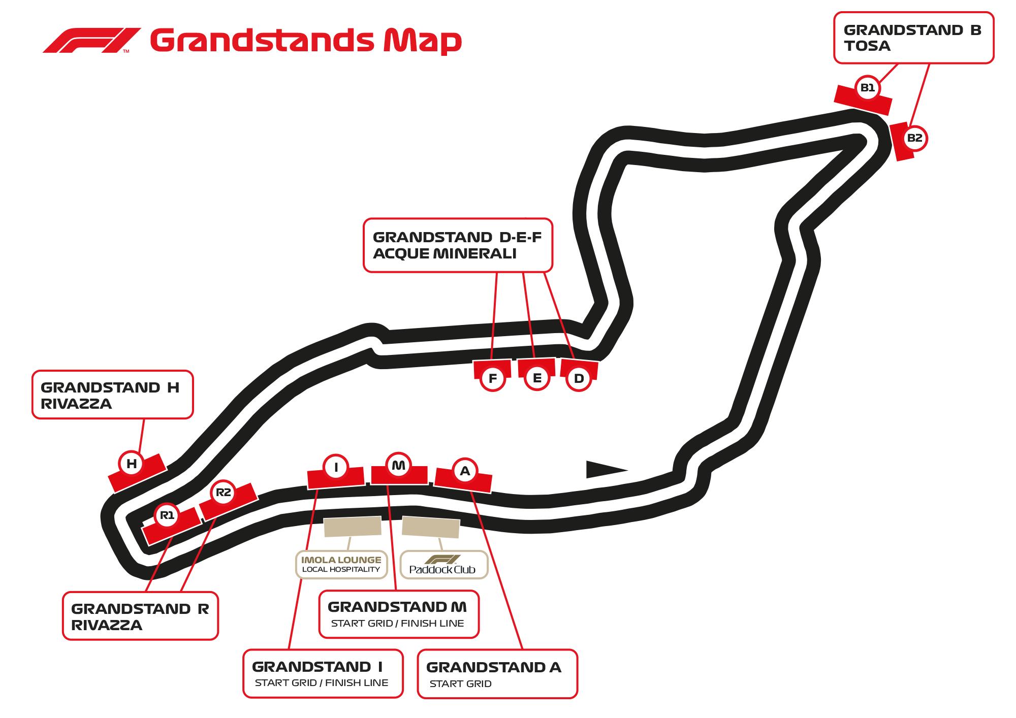 Mappa Tribune Imola F1